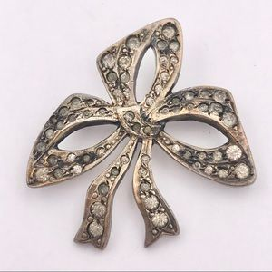 Antique Sterling Silver Paste Studded Bow Brooch